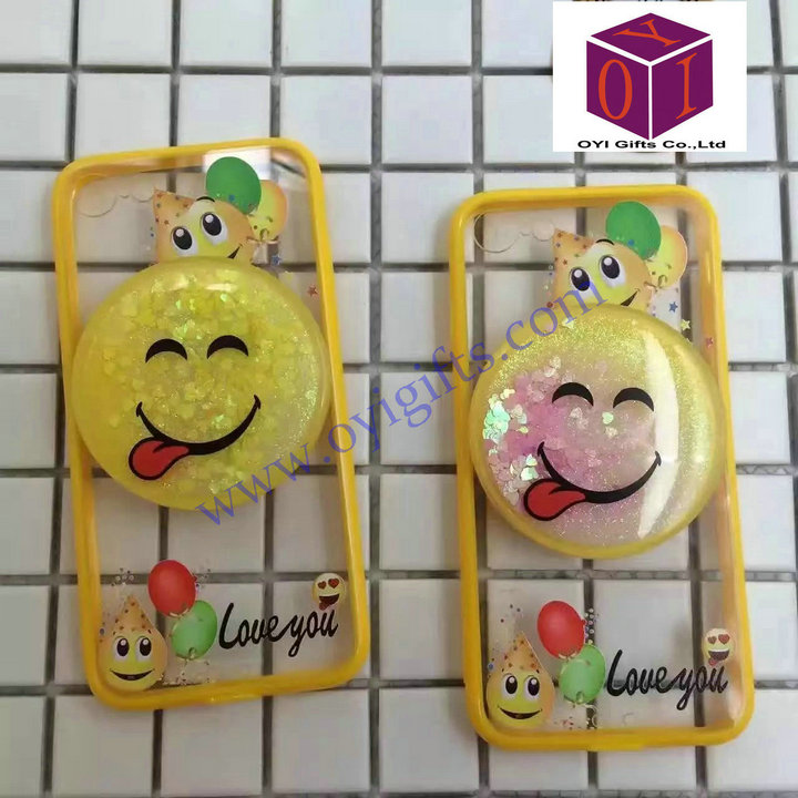 Cartoon liquid smile design quicksand phone cover