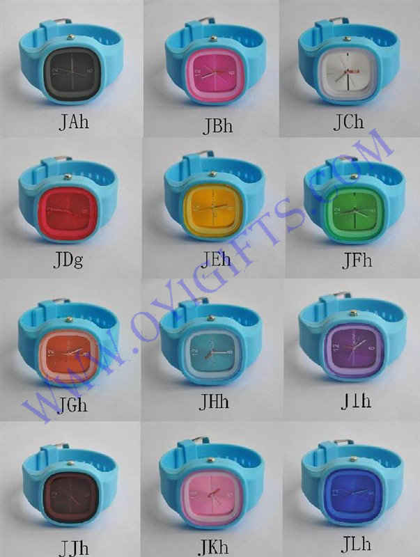 Fashion silicone Sport watch jelly watch small dial
